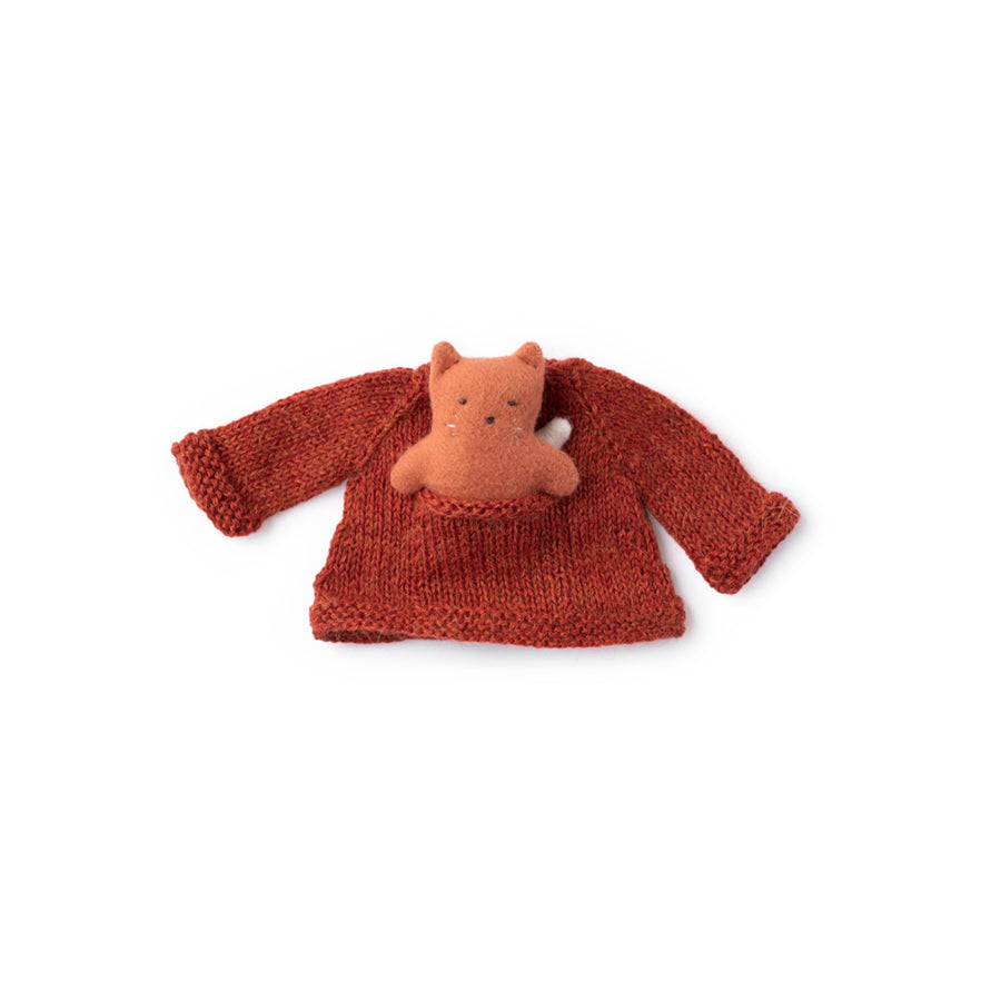 EMC Flora Fox in Cranberry Pocket Sweater and Mini Fox