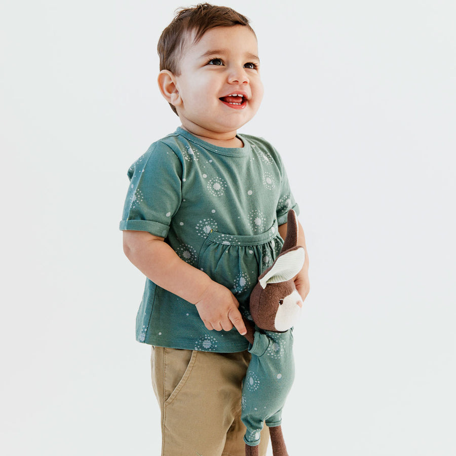 Child Wearing Adventure Pocket Shirt in Fireflies with Rabbit