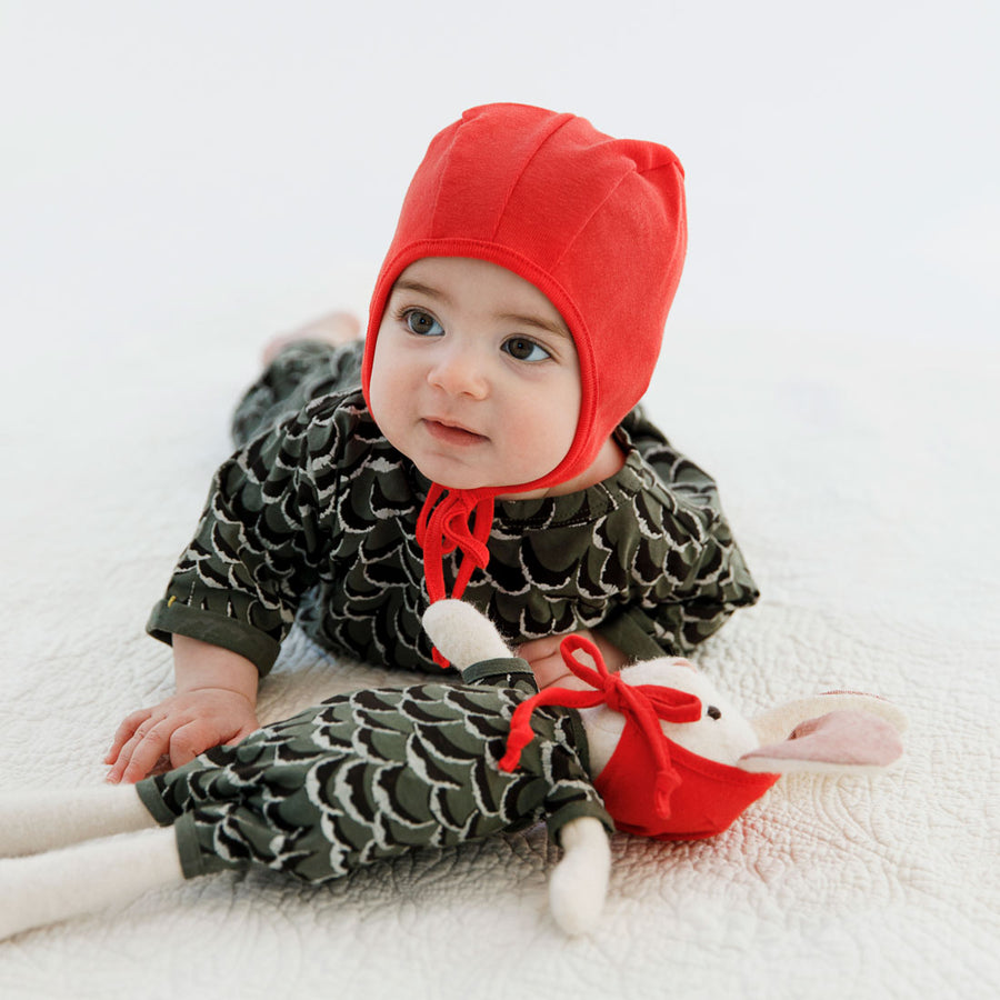 Baby Wearing Adventure Romper in Owl Feathers and Red Bonnet with Rabbit