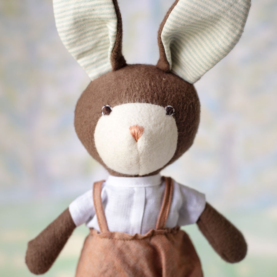 Linen Overalls for Dolls - Clay