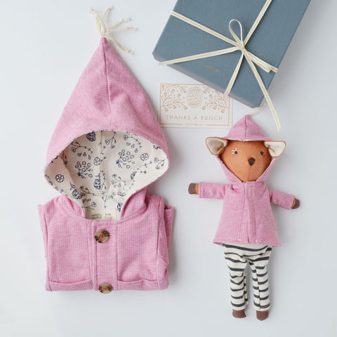 Hazel Village Dress Up Doll Clothes and Matching Children's Clothes set Organic Handmade Stuffed Animal Clover Jacket Bundle
