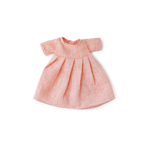 Coral Linen Dress for Dolls