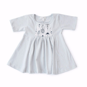 Hazel Village Childrens Clothes Feather Print Dress for Kids
