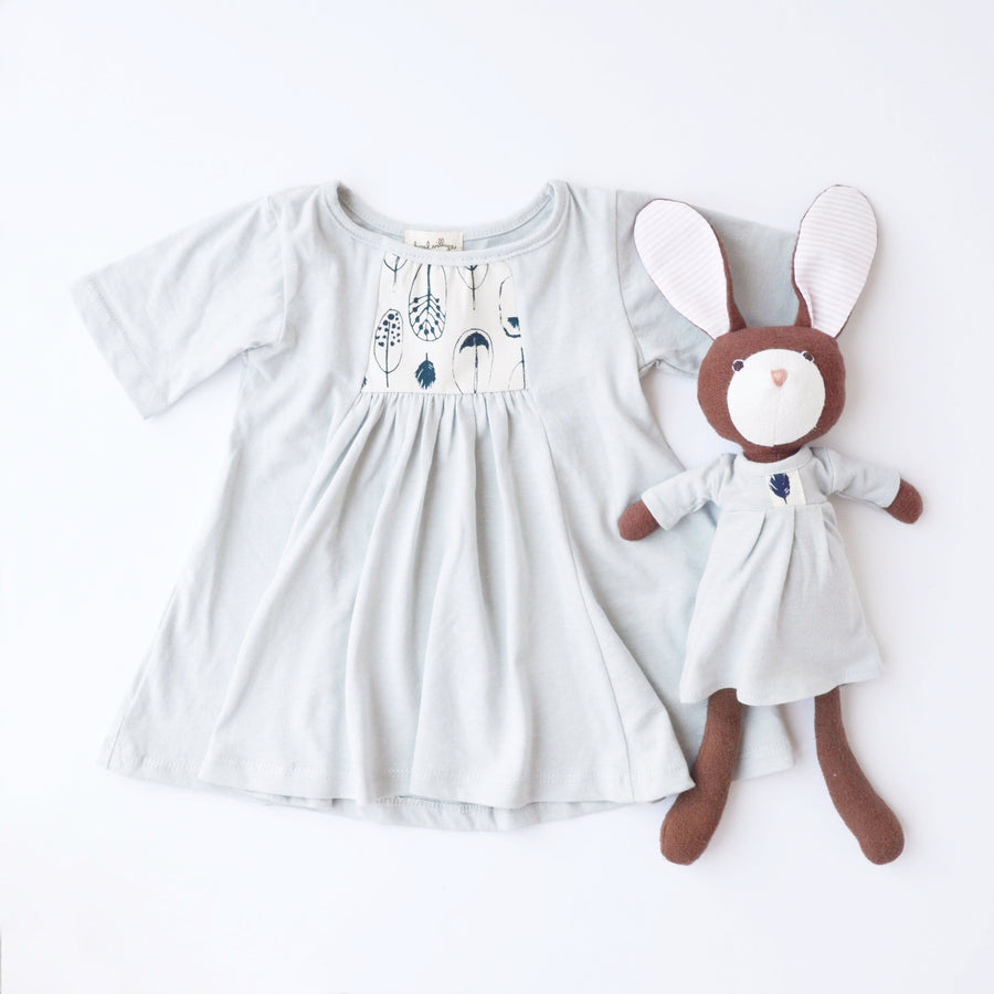 Hazel Village Dress Up Doll Clothes and Matching Children's Clothes set Organic Handmade Stuffed Animal Feather Dress Bundle