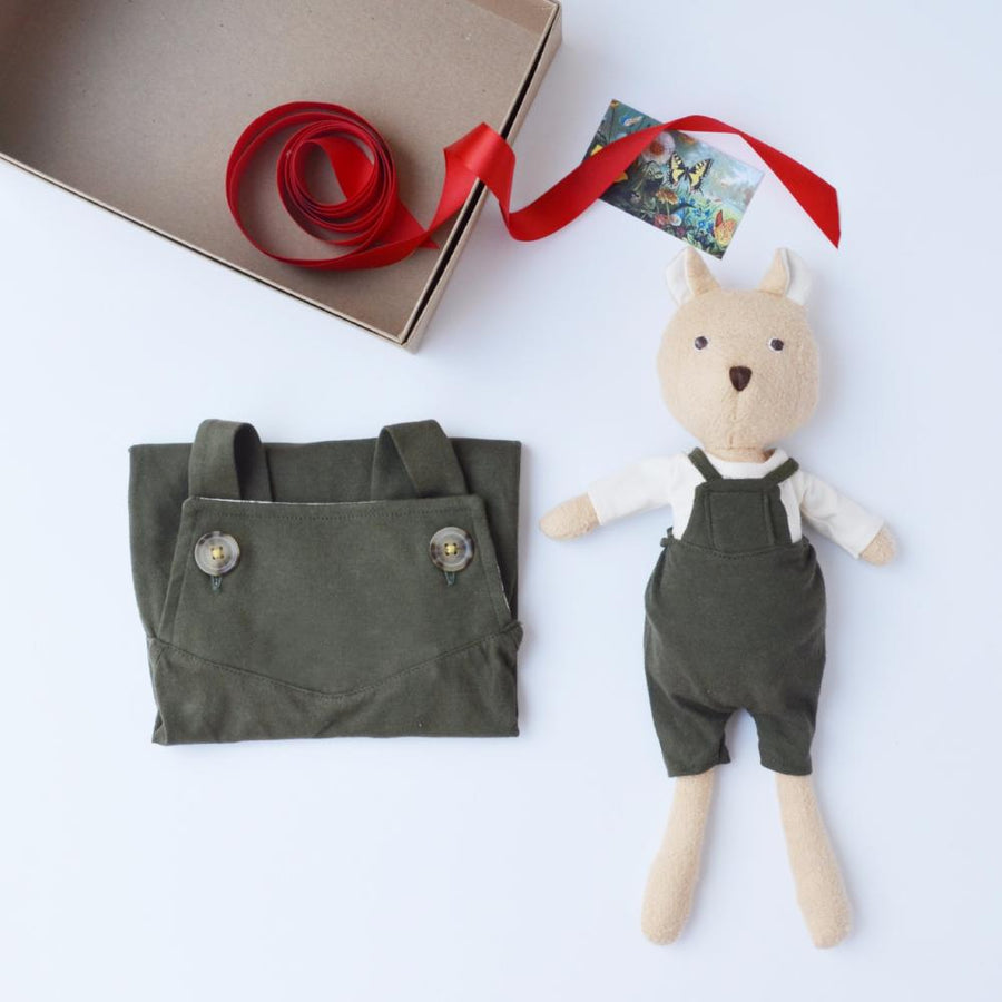 Hazel Village Dress Up Doll Clothes and Matching Children's Clothes set Organic Handmade Stuffed Animal Overalls Bundle