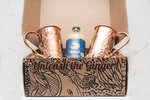 Moscow Mule copper mug, ginger beer, holiday Christmas gift set