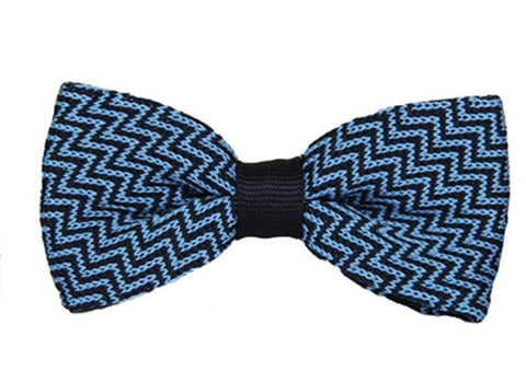 Blue ZigZag Knitted Bow