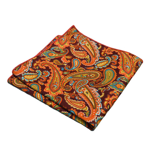 Red & Orange Paisley Pocket Square