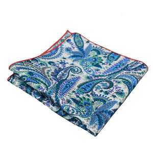 Turquoise Blue & White Paisley Pocket Square