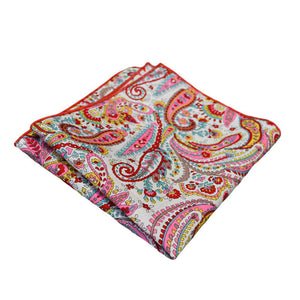 Pink Turquoise & Red Paisley Pocket Square
