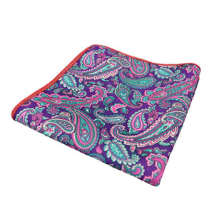 Purple & Turquoise Paisley Pocket Square