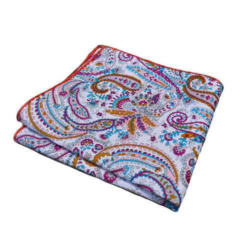 Red Blue & White Paisley Pocket Square