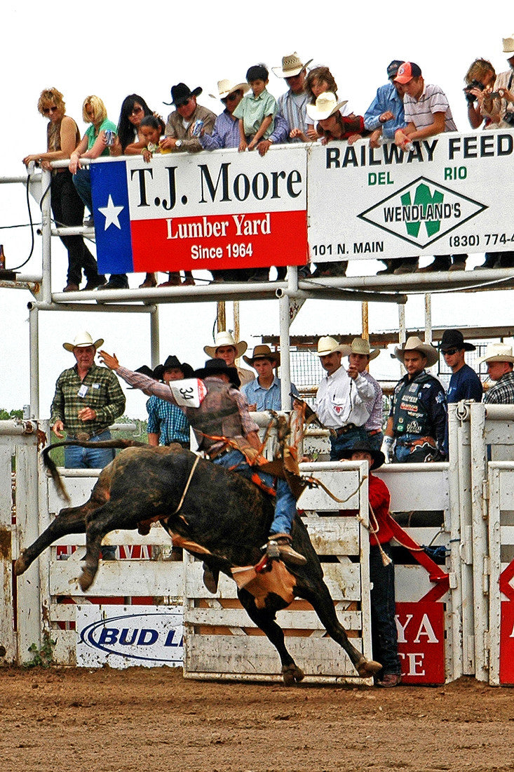 """#34"" ~ Image of cowboy competing at the Super Bull event in Del Rio, TX"