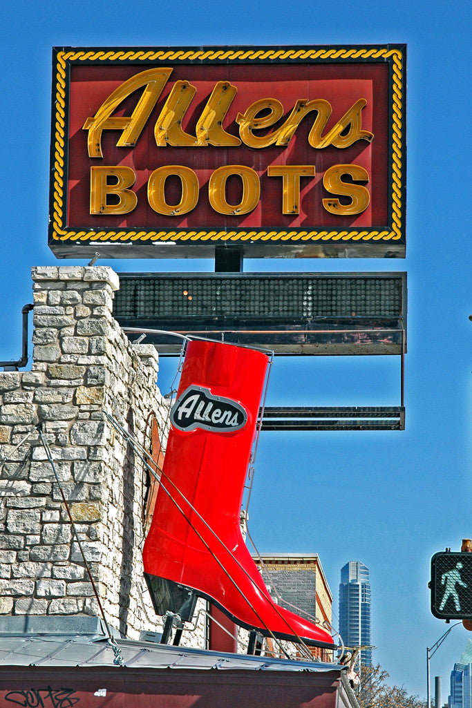 """Allens Boots"" ~ Sign for Allens Boots with a big red boot on South Congress Ave in Austin, TX."