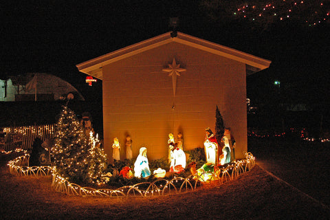 """Away In a Manger"" ~ Outdoor nativity scene at night during the Christmas season in Johnson City, TX 2012"