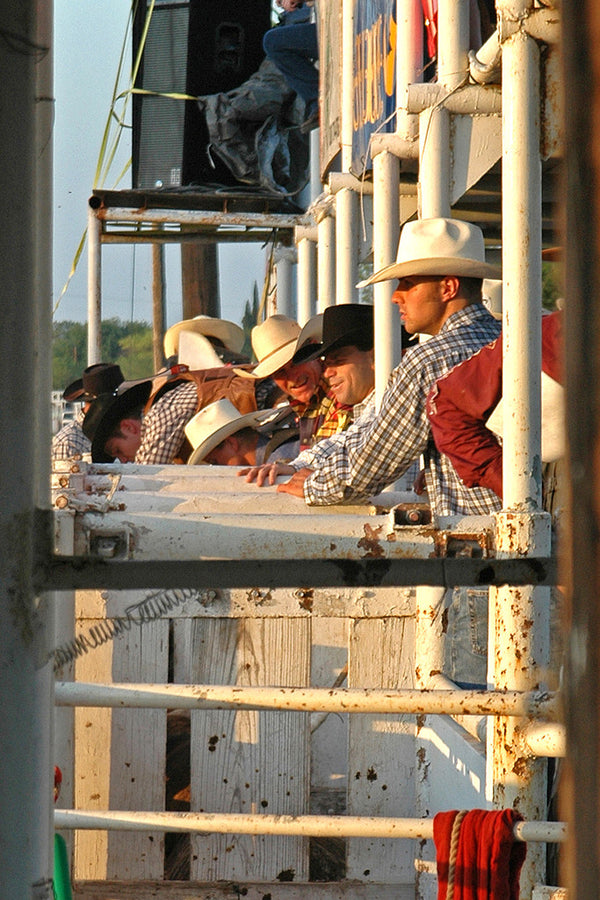 """Bull Riders"" ~ Bullriders waiting to ride at a bull riding event."