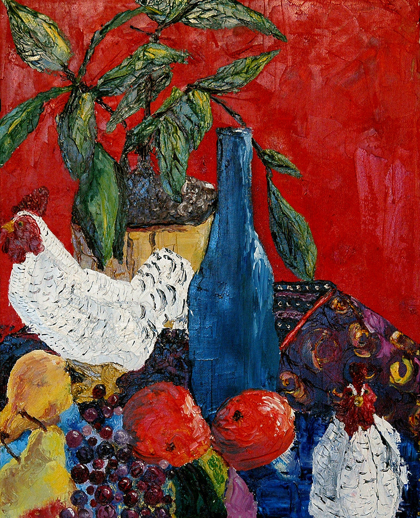 """Chickens"" ~ Still life oil painting of two chickens, a blue bottle and some fruit, by Ann Woodall"