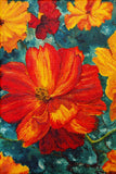 """Cosmos"" ~ Oil painting of bright orange cosmos flowers, by Ann Woodall."