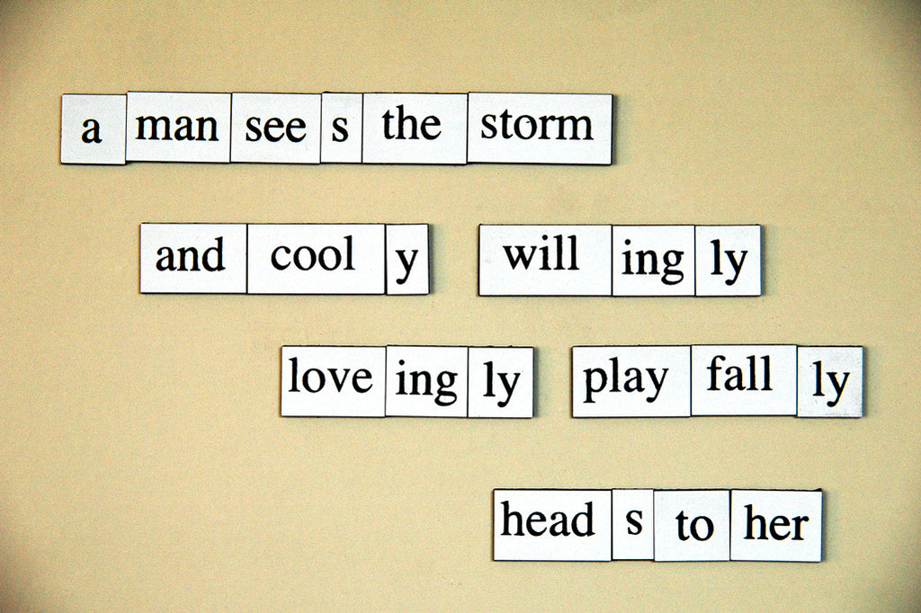 """A Man Sees the Storm..."" ~ Fridge magnet that say A man sees the storm and cooly willingly loveingly playfally heads to her. Photo by Ann Woodall"