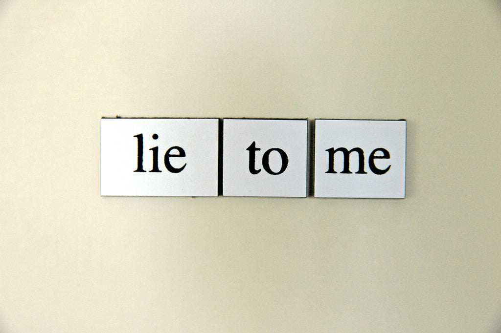 """Lie To Me"" ~ Words from my fridge. Photo by Ann Woodall"