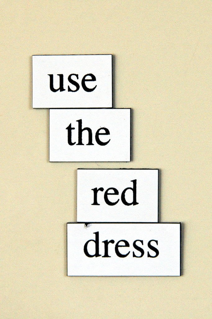 """Use the Red Dress"" ~ Words from my fridge. Photo by Ann Woodall"