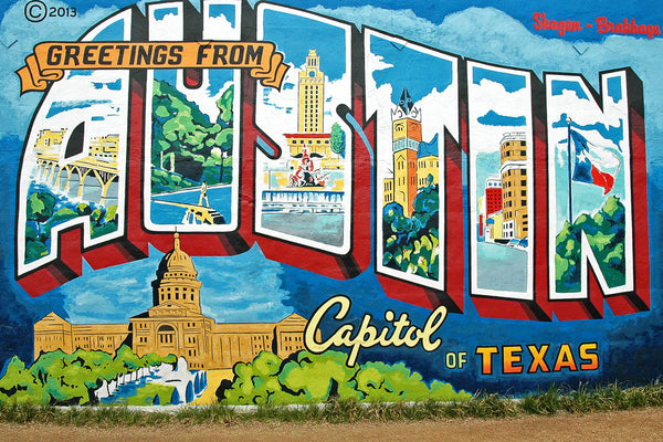 """Greetings From Austin"" ~ Austin mural a la vintage postages. Photo by Ann Woodall"