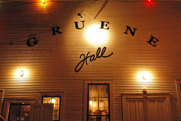 """Gruene Hall"" ~ The facade of Gruene Hall dance hall at night. Photo by Ann Woodall"