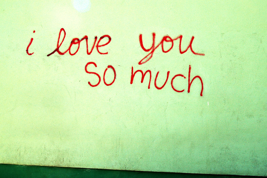 """I Love You So Much"" ~ Graffiti writing on a green wall. Photo by Ann Woodall"