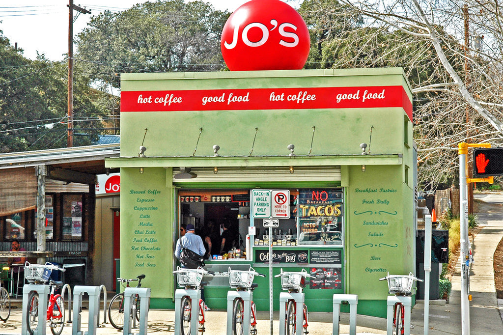 """Jo's Coffee"" ~ Popular coffee hangout in Austin, TX. Photo by Ann Woodall"