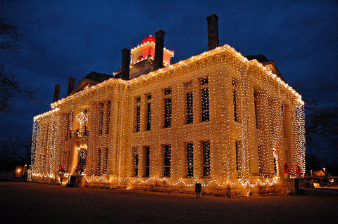 """Johnson City Courthouse"" ~ The Johnson City courthouse decked out in Christmas lights. Photo by Ann Woodall"