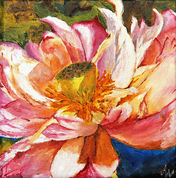 """Lotus"" ~ Oil painting of a lotus flower. Photo by Ann Woodall"