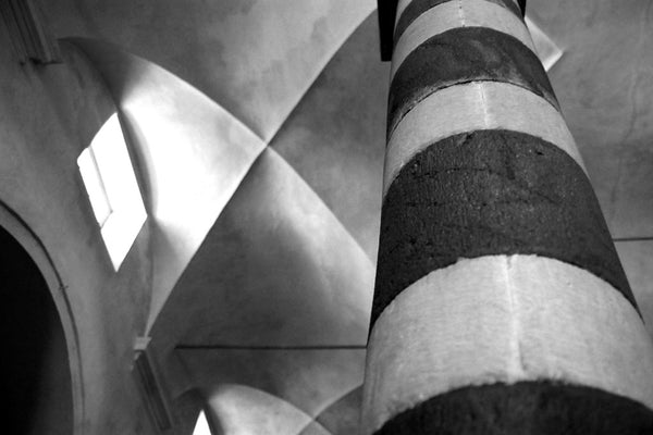 """Marble Column"" ~ Black and white marble column in an Italian church. Photo by Ann Woodall"