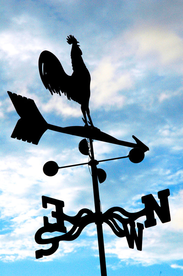 """NXNW"" ~ Rooster weathervane in front of blue sky and clouds. Photo by Ann Woodall"