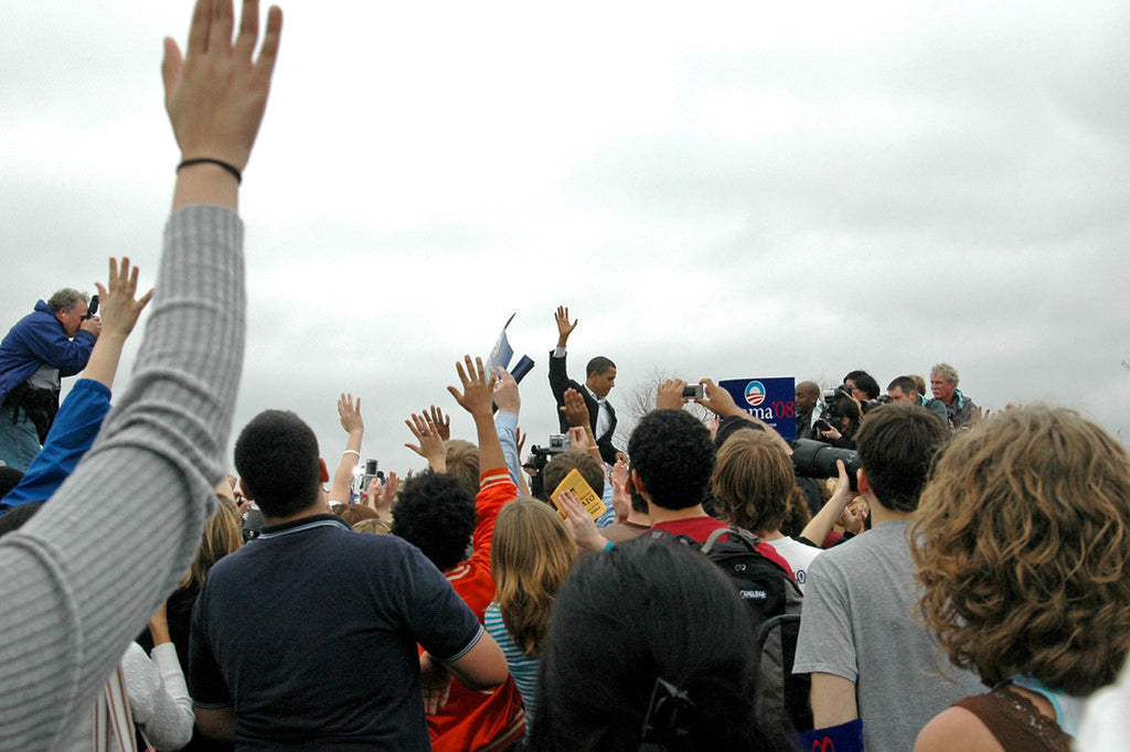 """Obama #10"" ~ Sen. Obama leave the stage after speaking to a crowd in Austin, TX. Photo by Ann Woodall"