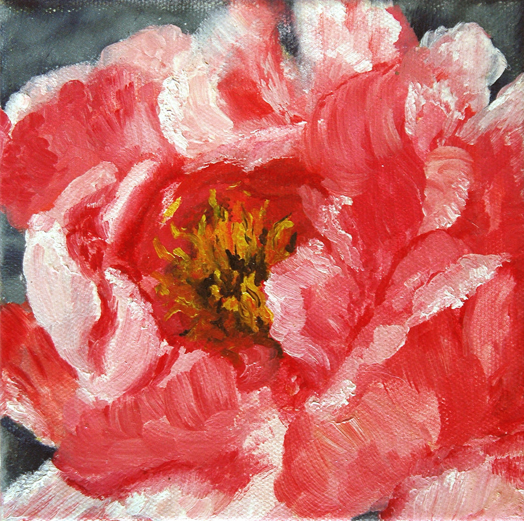 """Pink Peony"" ~ Oil painting of a pink peony. Photo and painting by Ann Woodall"
