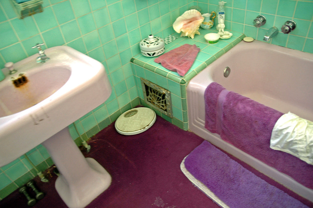 """Purple Bath"" ~ Close up section of a purple and green vintage bathroom. Photo by Ann Woodall"