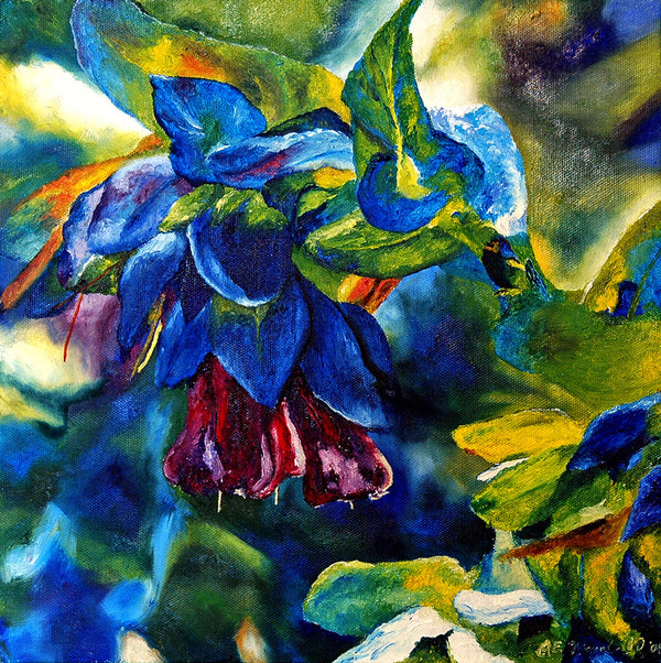 """Purpurascens"" ~ Oil painting of purpurascens flowers. Painting and photo by Ann Woodall"