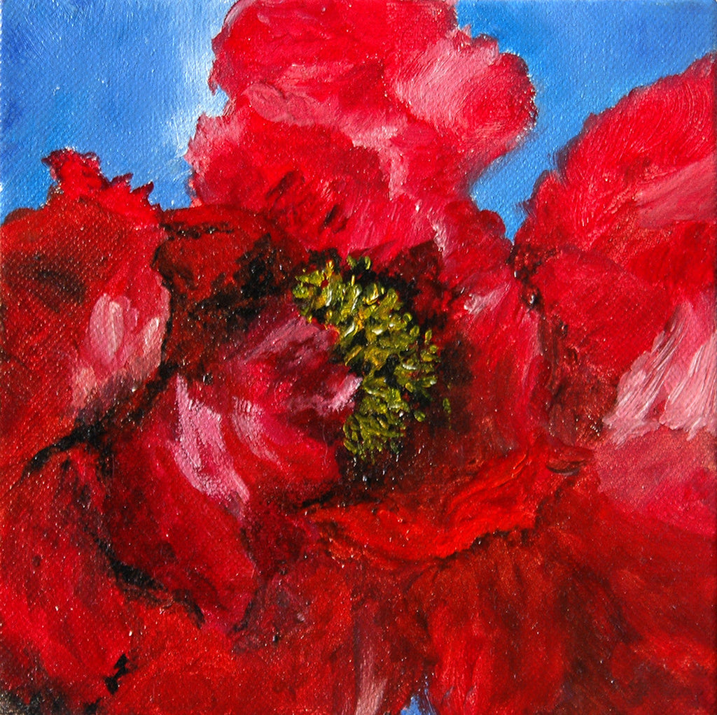 """Red Peony"" ~ Oil painting of red peony flower. Painting and photo by Ann Woodall"