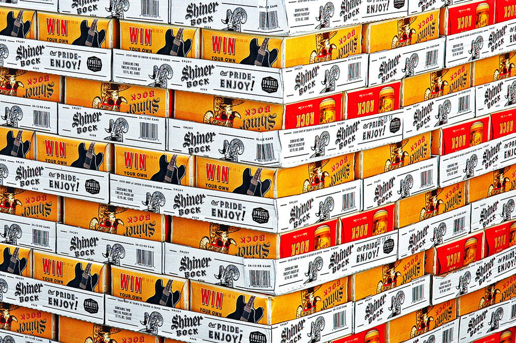 """Shiner Bock"" ~ Palettes of Shiner Bock beer. Photo by Ann Woodall"