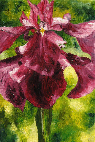 """Tall Iris"" ~ Purple iris painting. Photo and painting by Ann Woodall"