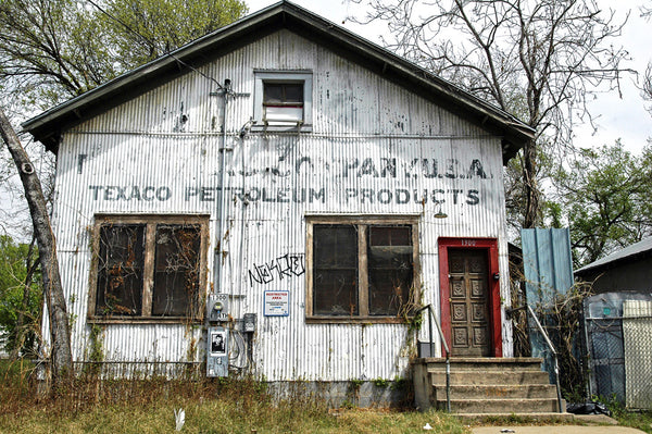 """Texaco Petroleum"" ~ An abandoned Texaco Petroleum building. Photo by Ann Woodall"
