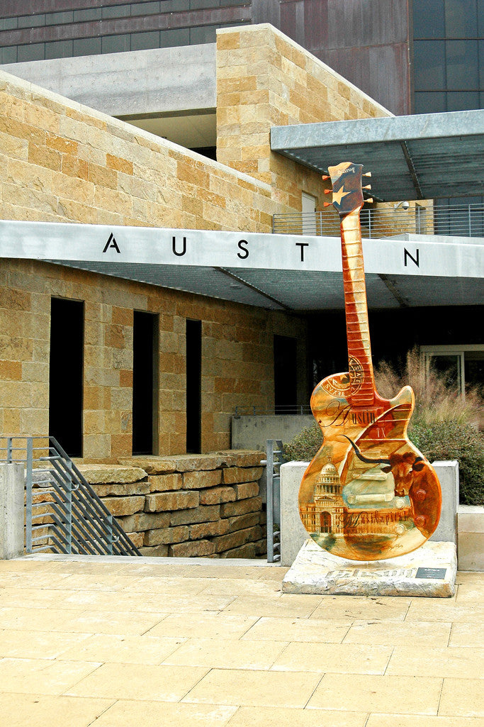 """Texas Guitar"" ~ A custom art guitar in front of City Hall in Austin, TX. Photo by Ann Woodall"