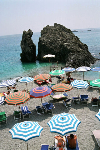 """Umbrellas"" ~ A section of the beach in Monterosso, Italy. Photo by Ann Woodall"