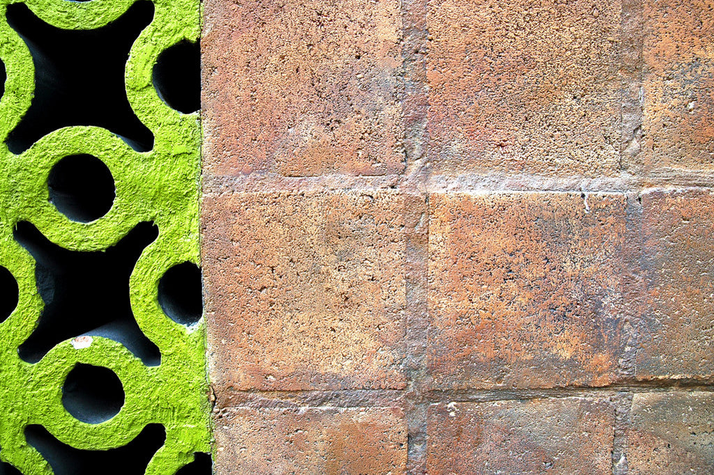 """Wall #21"" ~ Pink cinder block and lime green lattice concrete wall. Photo by Ann Woodall"