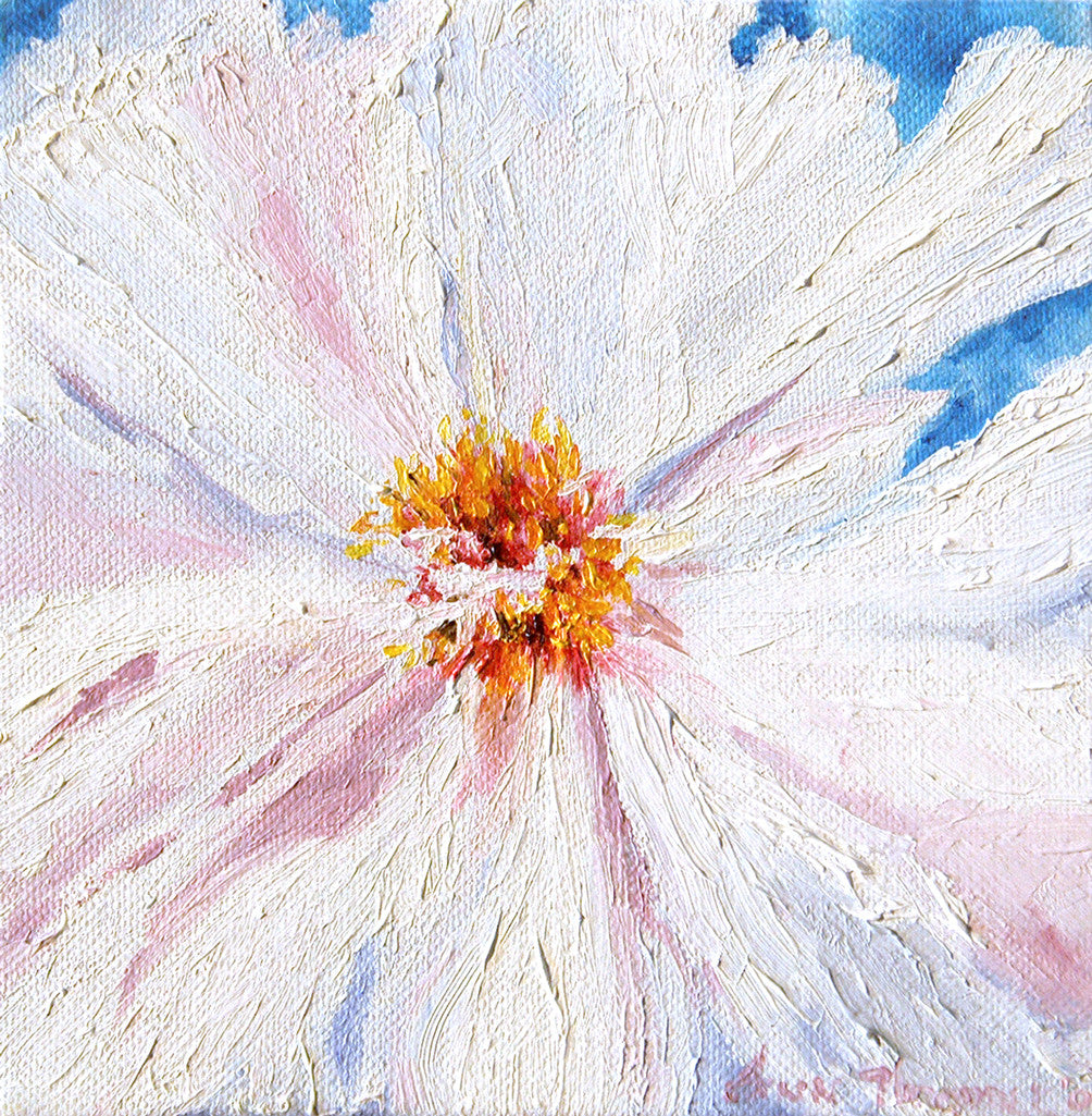 """White Peony"" ~ Oil painting of white peony flower. Photo and painting by Ann Woodall"