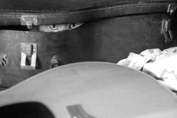 """Willie Cat"" ~ Willie the cat hiding inside a guitar case. Photo by Ann Woodall"