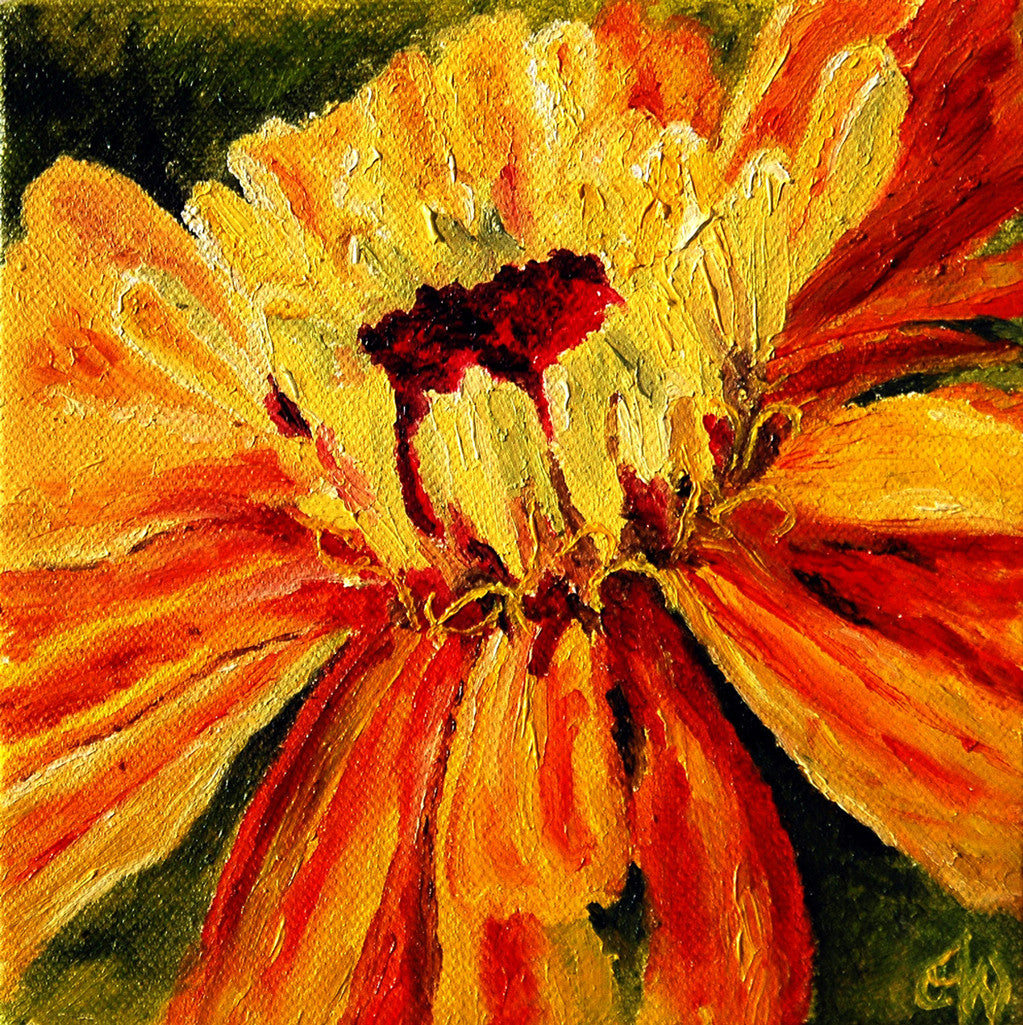 """Yellow Zinnia"" ~ Oil painting of a yellow zinnia flower. Photo and painting by Ann Woodall"