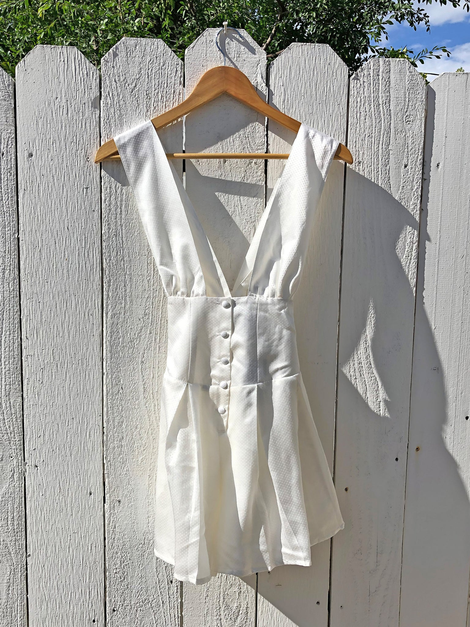 The Venus Romper - White Silk Dot