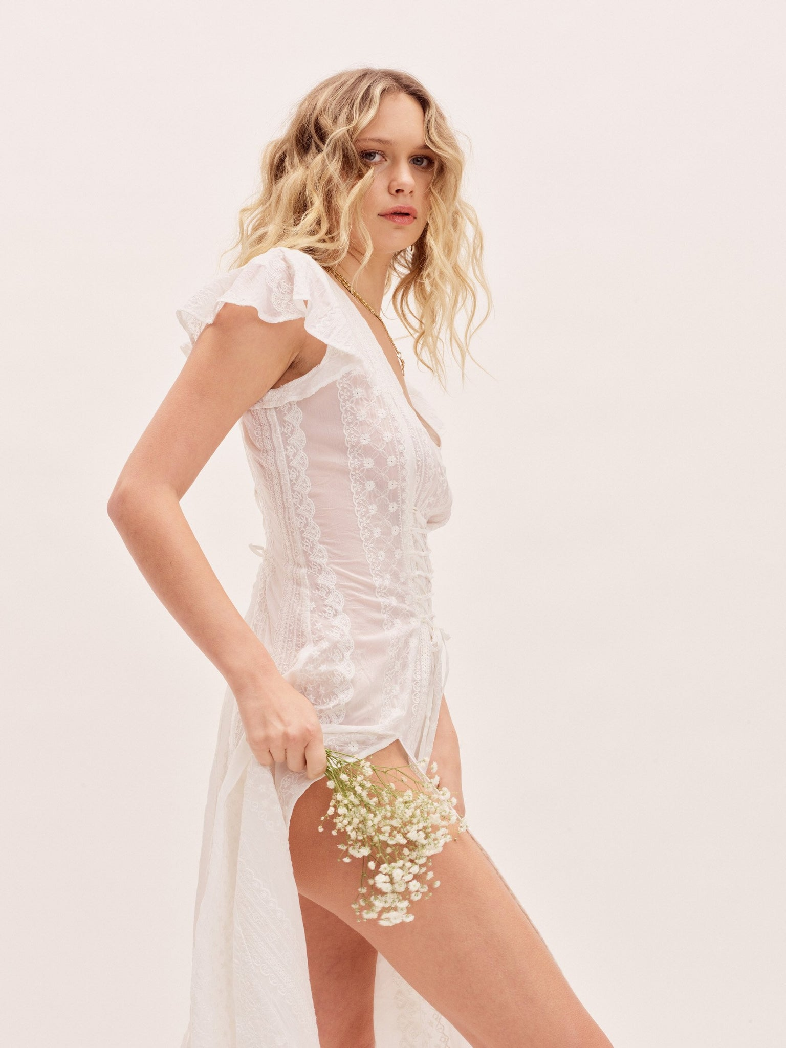 Clothing The Claudette Dress - Ivory Embroidered Vanessa Mooney