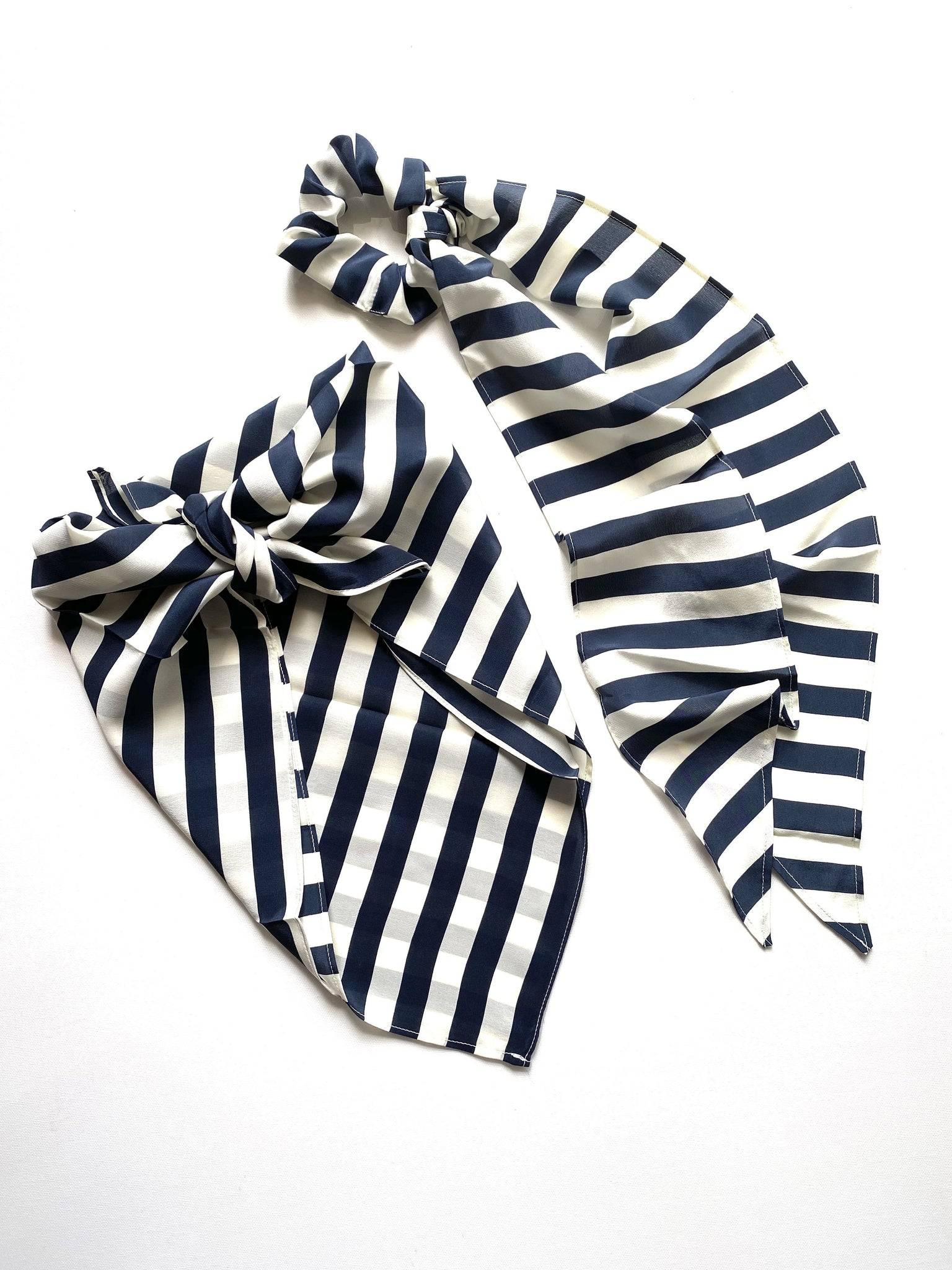 Clothing The Neptune Bandana Top & Ribbon Scrunchie Set - Navy & Cream Stripe Vanessa Mooney